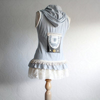 Shabby Chic Gray Women's Vest Upcycled Clothing Honeybee Bee Cream Lace Sleeveless Top Eco Friendly Hoodie Medium 'BEATRICE'