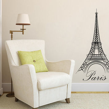 Eiffel Tower Wall Decal Vinyl Sticker Decals Art Home Decor Mural Eiffel Tower Paris Travel France Fashion Bedroom Dorm Living Room AN525