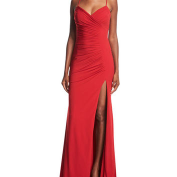 Jovani Sleeveless Ruched Evening Gown | Neiman Marcus