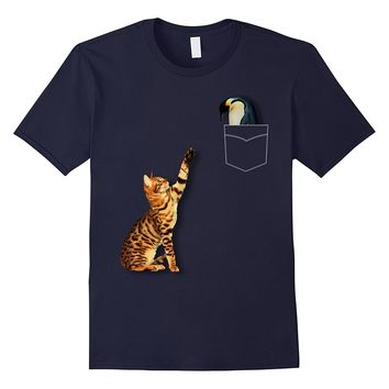 Cool Fake Pocket Design Penguin And Cat Funny T-Shirt