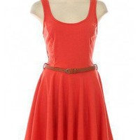 ORANGE SOLID KNIT A-LINE DRESS @ KiwiLook fashion