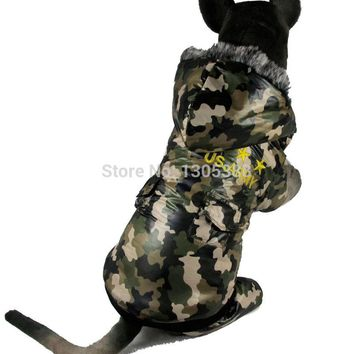 Camouflage waterproof windbreaker four legs detachable Pet dogs Coat Free Shiping By CPAM Medium Large Dogs Clothing