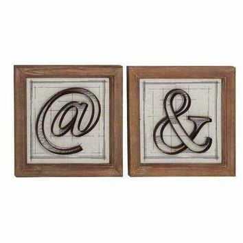 Fancy Wood Metal Wall Decorative 2 Assorted