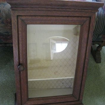 Antique Oak Medicine Cabinet, Wall Cabinet, Curio,  Antique Store Display