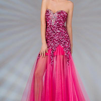 PRIMA C138102 Pink Sequin Sheer Long Prom Dress