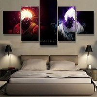 5 Panel Canvas Printed Naruto VS Sasuke Animation Poster Home Decor For Living Room Picture Wall Art Painting Modern Artwork