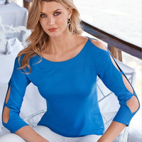Blue Cut Out Sleeve Round Neck T-Shirt