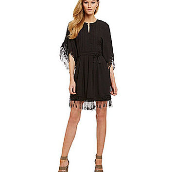 Chelsea & Violet Fringe Caftan Dress - Black