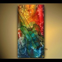 """Abstract Guitar Art, 48"""" Music Painting on Canvas, Large Modern Guitar Art, Gift for Musician, Abstract Artwork on Canvas Art, by Nandita"""