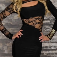 Black Cotton Ladies Splicing Lace Sexy Short Length Slim Dress M/XXL ALYDY-N110-24Black403-2 = 1956562308