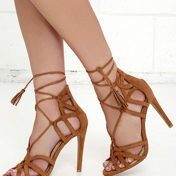 Resort and Spa Camel Suede Lace-Up Heels