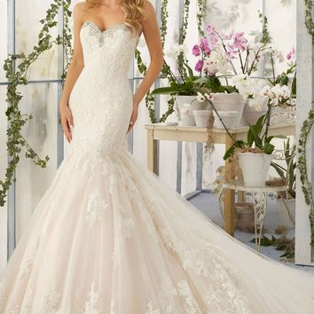 Mori Lee 2804 Strapless Lace Fit & Flare Wedding Dress