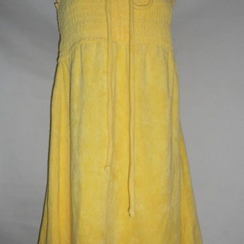 Vintage 90s Yellow Terry Cloth Dress