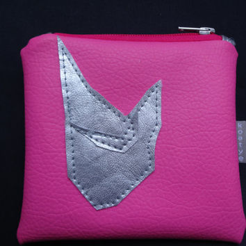 Cat Coin Purse Handmade Pouch Bag, Pink Coin Purse, Vegan leather Coin , Artificial leather Purse, Faux Leather Small Clutch