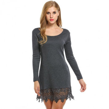 Women Fashion Casual Long Sleeve Lace-Trimmed A-Line Short Dress