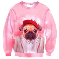 Fancy Pug Puppy Animal Dog Portrait All Over Print Unisex Pullover Sweater in Pink