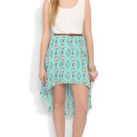 High Low Dress with Lace Tank Bodice and Tribal Print Skirt