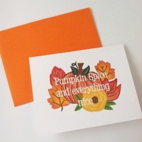 Pumpkin spice fall autumn card
