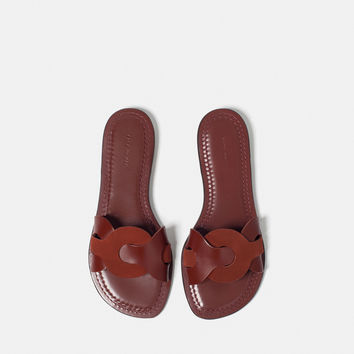 CONTRAST LEATHER SLIDES - Flat sandals-SHOES-WOMAN | ZARA United Kingdom