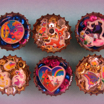 Upcycled Bottle Cap Magnets Resin Lisa Frank Animal Medley Handmade Recycled Reclaimed Repurposed Eco Friendly Ceramic Magnet