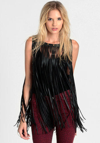 Fast Lane Fringe Leather Top - $54.00: ThreadSence, Women's Indie & Bohemian Clothing, Dresses, & Accessories