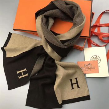 Best Online Sale Hermes Keep Warm Men Scarf Scarves Winter Wool Shawl Style 2