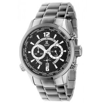 Momentus FS186S-04SS Men's Functional Sport World Time Black Dial Chrono Steel Bracelet Watch