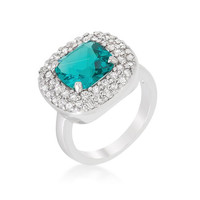 Micropave Aqua Bridal Cocktail Ring, size : 09