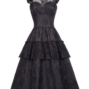 Victorian Dresses Women Summer Black Lace Sleeveless Ruffles Retro Robe 50s Rockabilly Punk Gothic Dress For Party vestidos
