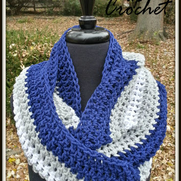 Xavier University Infinity Scarf Warm Accessory for Fall Navy Blue Gray White Christmas Gift XU Musketeers Winter Gear Detroit Lions