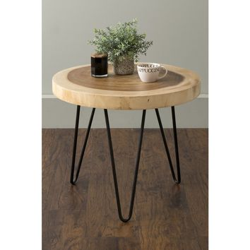 East At Main's Larkin Brown Teakwood Round Accent Table | Overstock.com Shopping - The Best Deals on Coffee, Sofa & End Tables