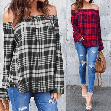 Elegant Ladies Cold Shoulder Plaid Check Shirt Tops Strapless Loose Blouse Plus