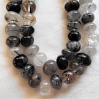 One 15+ inch strand (47 9mm to 12mm beads) black and crystal tourmalated or rutilated quartz pebble beads, semiprecious gemstone beads 00401