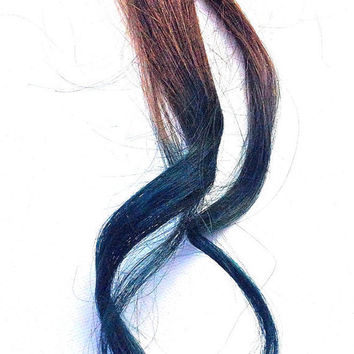 """Teal tips on brown hair - Ombre hair extensions , 2"""" wide, 18"""" long. TWO PIECES"""