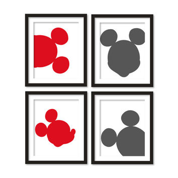 Kids artworks- room decor- mickey mouse silhouette- gray red - four arts