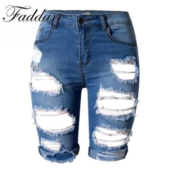 Punk Rock Style Summer Hole High Waisted Denim Shorts Vintage Ripped Short Jeans Sexy Womens Shorts