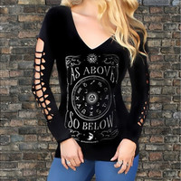Gothic Style Fashion Women Print V Neck Long Sleeve Top Blouse Tee Pullover T-Shirt [8833925260]