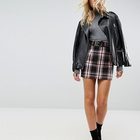 ASOS Check Mini Skirt with Belt at asos.com