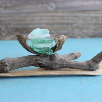 Fine Art Driftwood and Seaglass Sculpture , Unique Artisan Crafted Nautical and Beach House Decor