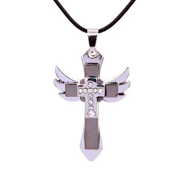 New Long Chain New Angel wings cross necklace alloy necklace collier choker for Men Women Lucky Gift