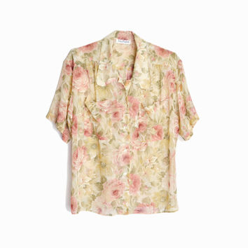 Vintage 90s Sheer Floral Shirt in Dusty Rose / Granny Floral Blouse - women's medium/large