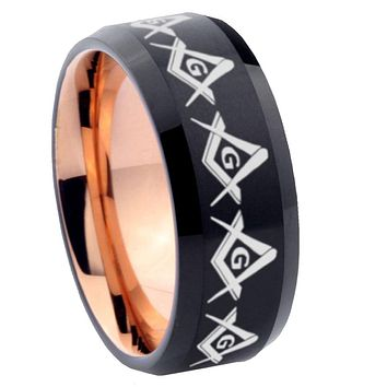 8mm Masonic Square and Compass Bevel Tungsten Carbide Rose Gold Men's Ring