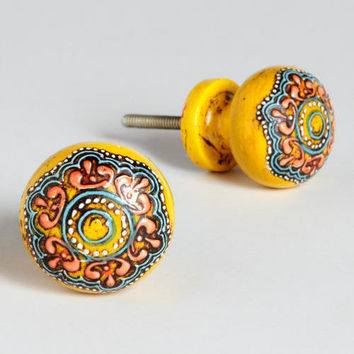 Yellow Painted Round Wooden Knobs, Set of 2