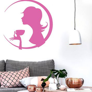 Vinyl Decal Silhouette Slim Beauty Girl Drinks Coffee Wall Sticker Unique Gift (n609)
