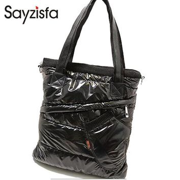 Sayzisfa 2017 Brand New Winter Women Warm Handbags Korean casual Ladies Down bag Fashion Shoulder Bags Female tote Bolsa T450