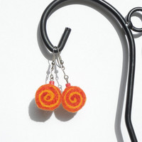 Earrings - unique felted rolls no 66 felt merino wool earrings very light colorful earrings unique pattern orange happiness joy unusual