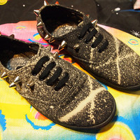 THE BRUISER// Black'n'Bleach Destroyed and Studded Canvas Sneakers, Women's Size 9