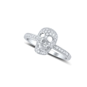 Sterling Silver Pave Cz Small Skull Ring