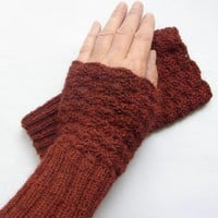 Crochet and knitted Cuffs Dark Red
