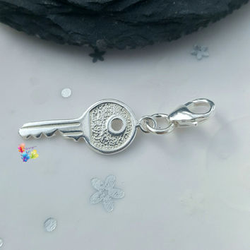 Clip on Charm, Key Charm, Sterling Silver
